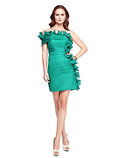 TS Couture Cocktail Party Prom Dress - Celebrity Style Sheath / Column Off-the-shoulder Short / Mini Chiffon withDraping Flower(s) Side