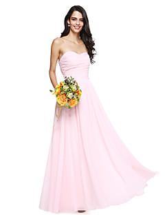 LAN TING BRIDE Tot de grond Hartvormig Bruidsmeisjesjurk - Blote rug Mouwloos Chiffon