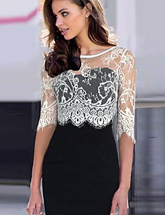 Women's Vintage Lace Inelastic Long Sleeve Knee-Length Dress (Cotton Blends)