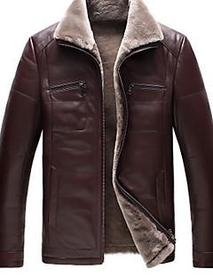 Masculino Jaquetas de Couro Informal / Festa/Coquetel / Férias Simples Inverno,Sólido Marrom Poliuretano Colarinho de Camisa-Manga Longa