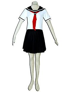 Inspirado por Menina do Inferno Fantasias Anime Fantasias de Cosplay Ternos de Cosplay Cor Única Branco / Preto / VermelhoTop / Saia /
