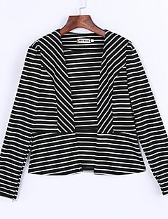 Mulheres Jaqueta Casual Sensual Primavera,Listrado Branco / Preto Modal Colarinho de Camisa Manga Longa Opaca