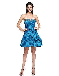 TS Couture® מסיבת קוקטייל שמלה - אמא ובת גזרת A מחשוף לב קצר \ מיני טפטה עם חרוזים / פפיון(ים) / תד נשפך / כיווצים למעלה