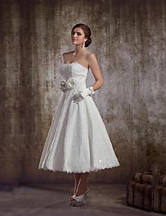A-Linie Svatební šaty - Šaty na hostinu K lýtkům Bez ramínek Krajka s