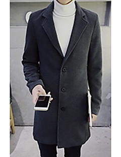 Men's Going out / Party/Cocktail Street chic Coat,Solid Shirt Collar Long Sleeve Fall / Winter Blue / Pink / Black / Brown / Gray / Green