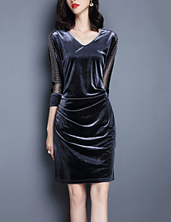 Women's Going out / Casual/Daily Vintage / Street chic Sheath Dress,Solid V Neck Knee-length ¾ Sleeve Black / Silver Polyester / Spandex