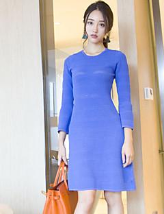 Kadın Günlük/Sade Sade A Şekilli / Örgü İşi Elbise Solid,Uzun Kollu Yuvarlak Yaka Diz üstü Mavi Yünlü / Pamuklu Sonbahar Normal Bel Streç