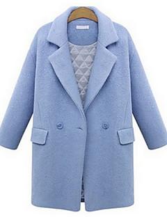 女性 お出かけ 秋 / 冬 ソリッド コート,セクシー シャツカラー ブルー / ピンク / ブラック ウール 長袖 厚手