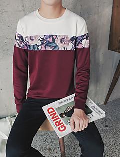 Herren Pullover Lässig/Alltäglicheinfarbig Rundhalsausschnitt Micro-elastisch Baumwolle Lange Ärmel All Seasons