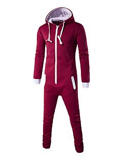 Masculino activewear Set Esportivo Activo Simples Moda de Rua Sólido Decote Redondo Algodão Poliéster Micro-Elástico Manga LongaOutono