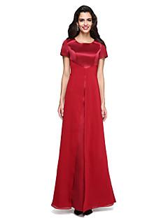 TS Couture Evento Formal Vestido - Frente Única Tubinho Decorado com Bijuteria Longo Chiffon Cetim com Fenda Frontal