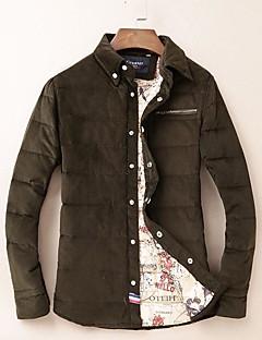 אחיד צווארון עגול פשוטה ליציאה חולצה גברים,חורף שרוול ארוך כחול / שחור / ירוק עבה כותנה