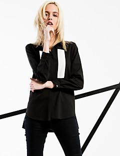 Dames Eenvoudig / Street chic Lente / Herfst Overhemd,Uitgaan / Casual/Dagelijks / Nette schoenen Effen Overhemdkraag Lange mouw Zwart
