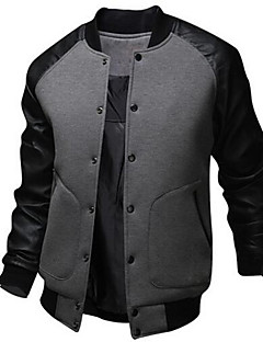 Men's Going out / Casual/Daily Simple / Active Jackets,Color Block Stand Long Sleeve Summer / Fall White / Black / Gray Cotton Medium