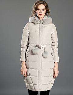 Damen Daunen Mantel,Lang Retro Lässig/Alltäglich Solide-Polyester Weiße Entendaunen Langarm Schwarz / Grau Ständer