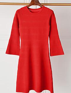 Kadın Günlük/Sade Sade Kılıf Elbise Solid,Uzun Kollu Yuvarlak Yaka Diz üstü Kırmızı Yünlü / Pamuklu Sonbahar Normal Bel Streç Orta