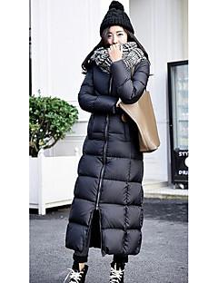 여성 심플 캐쥬얼/데일리 긴 다운 패딩 코트,솔리드-폴리에스테르 화이트 오리털 긴 소매 블랙
