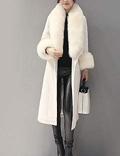 פרחוני דש רשמי פשוטה / סגנון רחוב ליציאה / יום יומי\קז'ואל מעיל נשים,לבן שרוול ארוך סתיו / חורף עבה כותנה / פוליאסטר