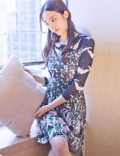 Kadın Günlük/Sade Sofistike A Şekilli Elbise Desen,Uzun Kollu Yuvarlak Yaka Diz üstü Siyah Yünlü / Pamuklu Sonbahar Normal Bel Streç Orta