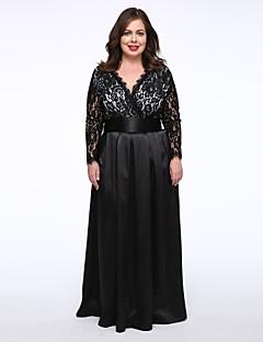 Dámské Sexy / Na večírek Velké velikosti / Krajka Šaty Jednobarevné Do V Maxi Polyester