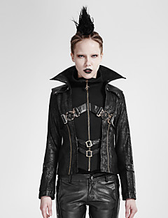 Damen Solide Retro / Punk & Gothic Lässig/Alltäglich / Party/Cocktail Jacke,Winter Ständer Langarm Rot / Schwarz Mittel Polyester