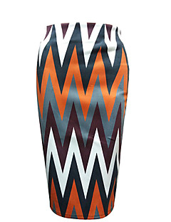 Women's Bodycon Striped Skirts,Casual/Daily Vintage High Rise Above Knee Zipper Polyester Inelastic Fall