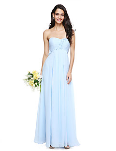 2017 Lanting Bride® Floor-length Chiffon Elegant Bridesmaid Dress - A-line Strapless with Flower(s)