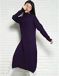 Women's Casual/Daily Simple Regular Pullover,Solid Gray Green Purple Turtleneck Long Sleeve Wool Spring Fall Medium Micro-elastic