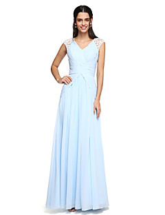 2017 Lanting andar de comprimento bride® chiffon vestido de dama elegante - A linha V-neck com drapeados