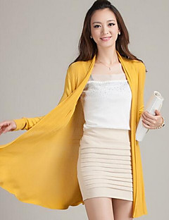 Women's Going out Casual/Daily Holiday Sexy Cute Street chic Long Cardigan,Solid Blue Pink Red White Green Orange Yellow HalterLong