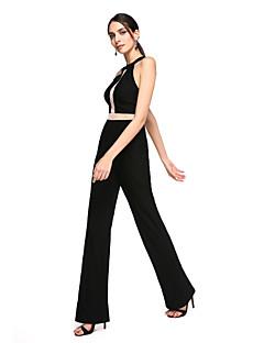 TS Couture Evento Formal Vestido - Frente Única Tubinho Decorado com Bijuteria Longo Microfibra Jersey com Pregas