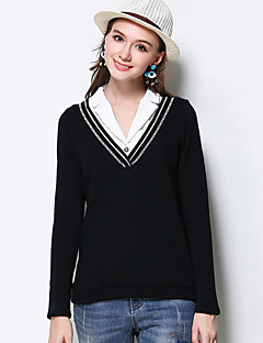 MEIDONGTAI Women's Plus Size / Casual/Daily Simple Fall T-shirtPatchwork Shirt Collar Long Sleeve Black Cotton / Polyester / Spandex Medium
