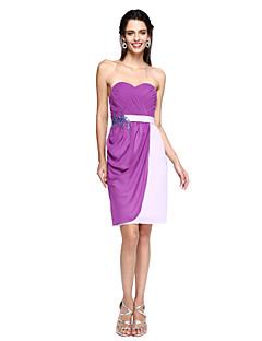 LAN TING BRIDE באורך  הברך מחשוף לב שמלה לשושבינה - בלוק צבע ללא שרוולים שיפון