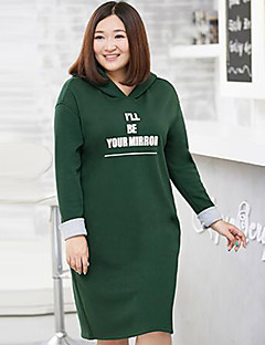 Women's Plus Size Casual/Daily Simple Hoodie Letter Micro-elastic Cotton Polyester Long Sleeve Fall Winter