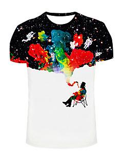 Herren Druck Einfach / Boho / Aktiv Ausgehen / Strand / Urlaub T-shirt,Rundhalsausschnitt Frühling / Sommer Kurzarm Weiß Polyester Mittel