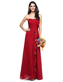 2017 lanting bride® zemin uzunlukta şifon şık nedime elbisesi - fırfır askısız artı boyutu