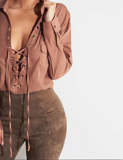 Women's Going out / Casual/Daily / Formal Sexy Fall / Winter Shirt,Solid Peter Pan Collar Long Sleeve Brown / Green Cotton / Acrylic