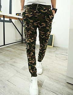 Men's Mid Rise Inelastic Active Chinos Sweatpants Pants,Simple Active Straight Slim Camouflage