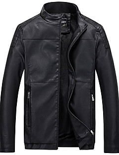 Heren Eenvoudig Leren jacks,Casual/DagelijksLange mouw Rood / Zwart / Bruin Effen Polyester