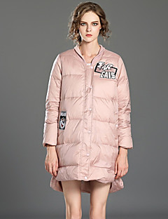 Damen Daunen Mantel,Standard Niedlich Lässig/Alltäglich Solide / Buchstabe-Polyester Weiße Entendaunen Langarm Rosa / Grau