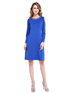 2017 Lanting Bride® Sheath / Column Mother of the Bride Dress - Elegant Knee-length Long Sleeve Jersey with Beading