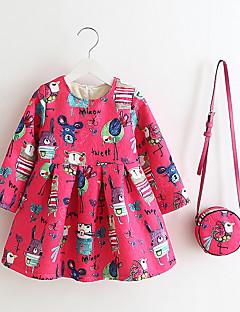 여자의 드레스 캐쥬얼/데일리 프린트,겨울 / 봄 / 가을 폴리에스테르 긴 소매