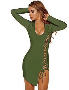 Feminino Tubinho Vestido, Casual / Bandagem Sensual / Simples Sólido Decote U Assimétrico Manga Longa Azul / Vermelho / Preto / Verde