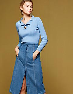 Damen Standard Pullover-Lässig/Alltäglich Einfach Solide Blau Beige Hemdkragen Langarm Baumwolle Frühling Herbst Mittel Mikro-elastisch