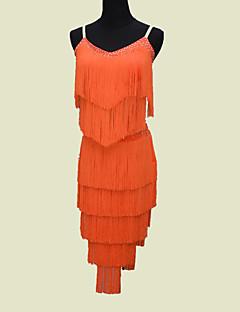 Danse latine Tenue Femme Enfant Spectacle Elasthanne 1 Pièce Sans manche Taille moyenne Robe
