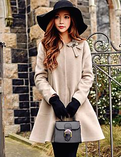 Dames Vintage / Street chic / Verfijnd Herfst / Winter Jas,Uitgaan / Casual/Dagelijks / Vakantie Ronde hals-Lange mouw Beige Effen Medium