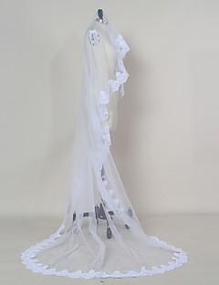 웨딩 면사포 한층 블러셔 베일 팔꿈치 베일 손가락 베일 채플 베일 성당 베일 레이스처리된 가장자리 명주그물