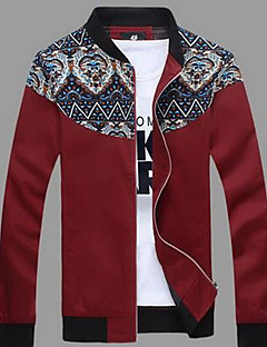 Men's Casual/Daily Vintage / Simple Jackets,Color Block Long Sleeve Red / Black / Brown Cotton