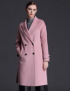 Casual/hétköznapi Egyszerű Őszi / Téli-Női Kabát,Egyszínű Állógallér Hosszú ujj Kék / Rózsaszín Gyapjú Közepes vastagságú