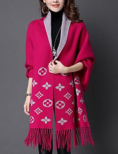 Dames Street chic Herfst / Winter Cloak / Capes,Casual/Dagelijks V-hals-Lange mouw Rood / Zwart / Grijs / Geel / Paars Jacquard Medium